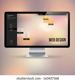 Computer display with website interface. Vector illustration