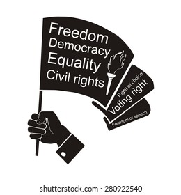 computer drawing,  vector, linear, silhouette, illustration of flag in hand, civil rights
