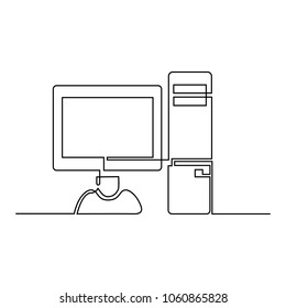 A computer is drawn by a single line on a white background. One-line drawing. Continuous line. Vector Eps10