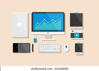 Computer and Electronic Device Flat Design Vector Illustration Element Icons Set