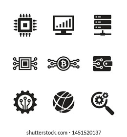Computer electronic technology - black web icon design set. Network vector sign.