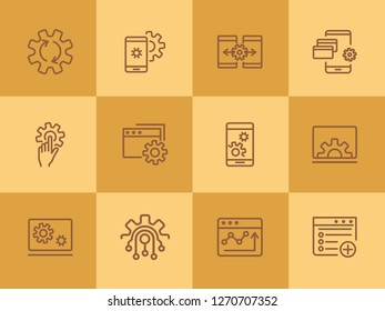 Computer engineering line icon set. Technology concept. Computer, machine, progress. Vector illustration can be used for topics like technics, programming, computer