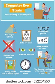 Computer eye strain relief tips or infographics, vector illustration