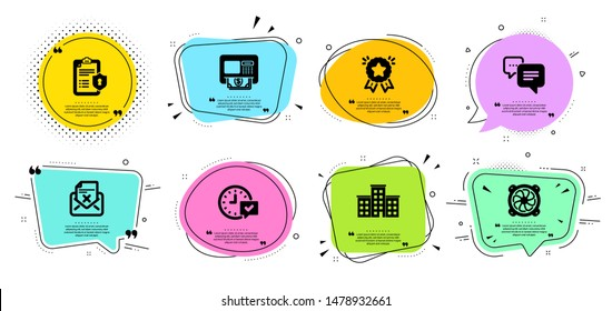 Computer fan, Select alarm and Dots message line icons set. Chat bubbles with quotes. Atm, Privacy policy and Company signs. Reject letter, Ranking star symbols. Pc ventilator, Time symbol. Vector