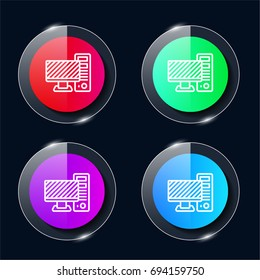 Computer four color glass button ui ux icon. Glossy app icon logo vector