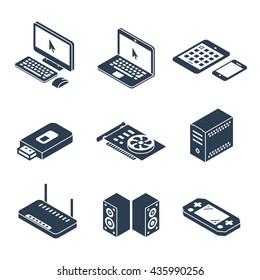 Computer, gadgets and hardware isometric vector icons