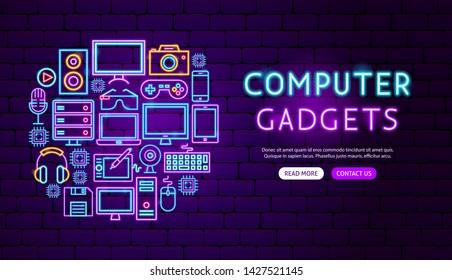 Computer Gadgets Neon Banner Design. Vector Illustration of Electronics Promotion.