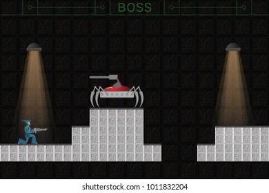 Computer game concept. 2D shooter. 2D arcade. Dark future, techno, robots, scifi.