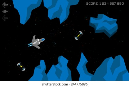 Computer game concept. Level complete screen. Spaceship in space