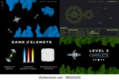 Computer game concept. Set of 4 screens with space levels and game elements: spaceships, rocks, fuel cells, star base, flames, lasers, icons, interface, units and more