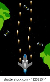 Computer game concept. Set of space arcade elements: spaceship, rocks, fuel cells, flames, lasers and more