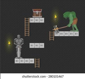 Computer game level elements on dark background