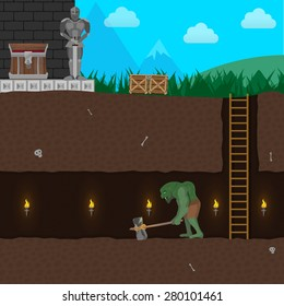 Computer game level with Ogre, Warrior, Underground Tunnel and more