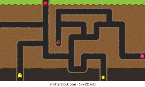 Computer game world - underground