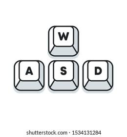 Computer gamer keyboard, WASD keys, vector illustraion. WASD keys, game control keyboard buttons. Gaming and cybersport symbol.