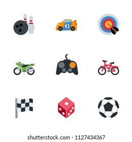 Computer games, sport activities icons set, vector illustration symbols emojis, emoticons set, collection.