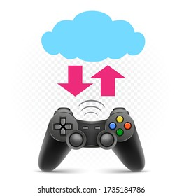 Computer gaming cloud service illustration on white transparent background. Video game joypad symbol. Console gamepad controller sign