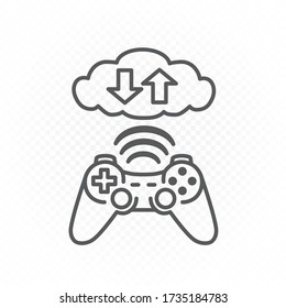 Computer gaming cloud service line icon on white transparent background. Video game joypad symbol. Console gamepad controller sign