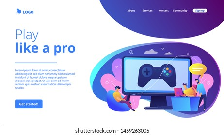 Computer gaming industry, cybersport training. Esports coaching, lessons with pro gamers, esports coaching platform, play like a pro concept. Website homepage landing web page template.