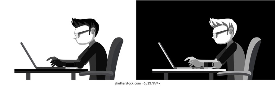 Computer Geek Sitting on a Chair