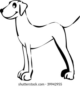 Computer generated illustration vector: happy cartoon dog.
