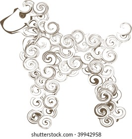 Computer generated illustration vector: swirl cartoon poodle