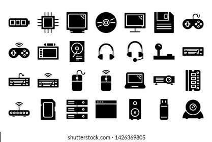 computer glyph icon symbol set