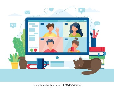 Computer with group of people doing video conference. Online meeting via group call. Vector illustration in flat style