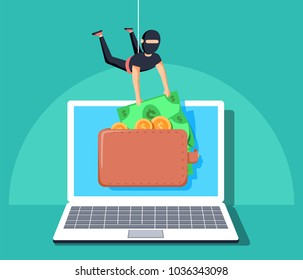 Computer hacker character stealing money online. Vector flat cartoon illustration. Internet personal access for finances. Web crime with burglar cracking internet currency. Thief grabing wallet