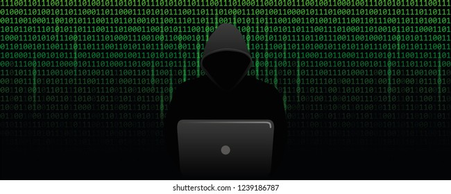 computer hacker cybercrime concept with binary code web background vector illustration EPS10