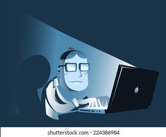 Computer hacker in the dark.