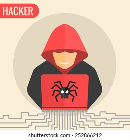 Computer hacker spread a net - isolated vector illustration.