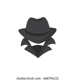 Computer hacker. An unknown man in a hat, a bandage on his face, with a raised collar. Stranger. Spy. Mafia.
