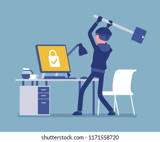 Computer hacking attempt. Masked man in black attacks with hammer software and hardware, thief committing electronic crime, destroy safe code. Vector illustration, faceless characters
