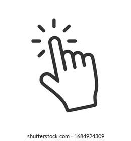 Computer hand cursor click, Hand pointer clicking effect, vector illustration