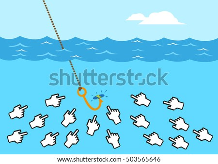 Computer Hand Icons are like Fish gathering to Click a Bait Concept. Editable Clip Art.