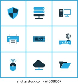 Computer Hardware Colorful Icons Set. Collection Of Keypad, Modem, Firewall And Other Elements. Also Includes Symbols Such As Cloud, Security, Storage.
