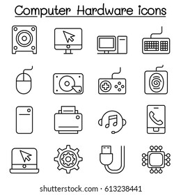 Computer Hardware icon set in thin line style