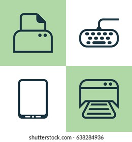 Computer Hardware Icons Set. Collection Of File Scanner, Computer Keypad, Printed Document And Other Elements. Also Includes Symbols Such As Keypad, Smartphone, Computer.
