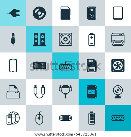 Computer Hardware Icons Set Collection Music Stock Vector
