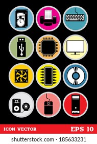 Computer Hardware Icons, vector