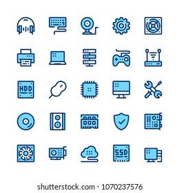 Computer hardware, PC parts line icons set. Modern graphic design concepts, simple symbols, pictograms collection. Minimal thin line design. Premium quality. Pixel perfect. Vector outline icons