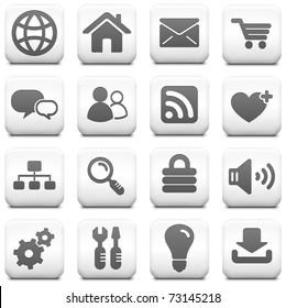 Computer Icon on Square Black and White Button Collection Original Illustration