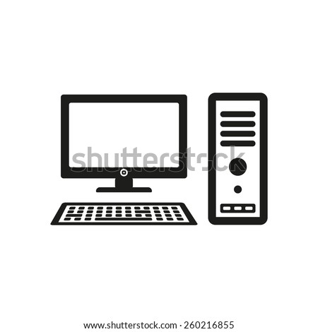 Computer Icon Pc Symbol Flat Vector Stock Vector Royalty Free