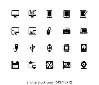 Computer icon set, glyph
