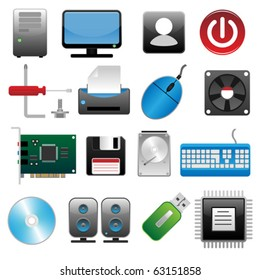 Computer icon set (Realistic colorful vector icons for web design)
