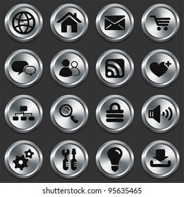 Computer Icons on Metallic Button Collection Original Illustration