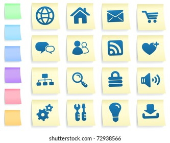 Computer Icons on Post It Note Paper Collection Original Illustration