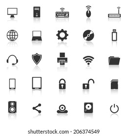 Computer icons with reflect on white background, stock vector
