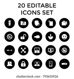 Computer icons. set of 20 editable filled computer icons such as no laptop, smile, support, share, atom on display, lock. best quality computer elements in trendy style.